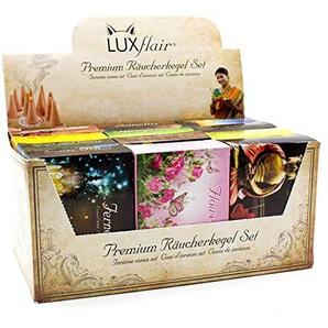 Luxflair Premium Räucherkegel/Räucherkerzen Mischung 12 x 20 Stück in der XXL Großpackung. Klassisch, blumig, fruchtig, weihnachtlich. Sparpack inklusive Kegelhalter.