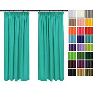 Einfarbig Blickdicht Vorhänge 2er Set Mit Universal Kräuselband Bleistift ( Türkis 17, 135x215 Cm   BxH) Lichtundurchlässig 2 Stück Vorhang, ...