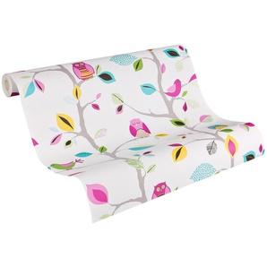 Papiertapete »colourful owl«, matt, gemustert, Comic, mehrfarbig, floral, geprägt