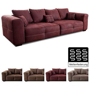 Cavadore Big Sofa Mavericco / Großes Sofa im modernen Design  in Lederoptik / Inklusive Rückenkissen und Zierkissen / 287 x 69 x 108 cm (BxHxT) / Mikrofaser Bordeaux (rot)