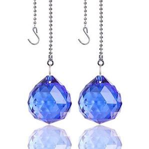 H&D Kristall Regenbogen Sonnenfänger Blau Glas Deckenventilator Ketten ziehen Hängendes Kugelprisma,30mm