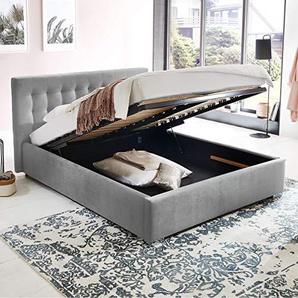 Bett mit Bettkasten Jimmy Samt-Stoff Polsterbett Lattenrost Doppelbett Stauraum Chromefuß (Grau, 140 x 200 cm)