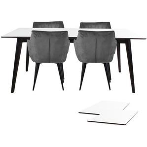 Essgruppe | Esstisch Ausziehbar Weiß 150/230 cm mit 4 Samt Stühlen Grau - Nora