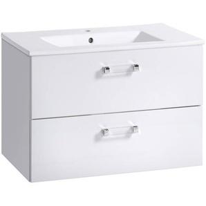 Waschtischunterschrank mit Keramik Waschbecken 60 cm CHESTER-56, Hochglanz weiß, B x H x T ca. 60 x 45 x 46 cm