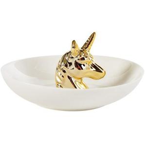 Schälchen Einhorn aus weißem und goldfarbenem Porzellan