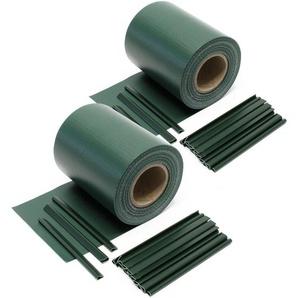 Sichtschutz Streifen, 70mx19cm grün aus PVC 650g/m², mit 40 Clips, Zaunfolie - WILTEC