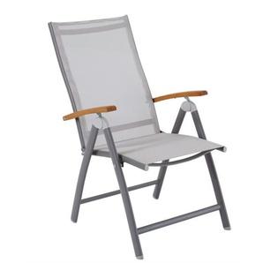 OUTDOOR klappbarer Stuhl /Gartenstuhl mit Armlehnen KIAN Aluminium/Textilene/Holz Braun