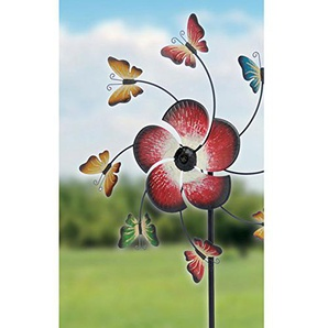 Windrad mit Schmetterlingen aus Metall Ø40cm Erdspieß 152 cm hoch • Windspiel Schmetterling Garten Windmühle Gartendeko Gartenfigur
