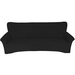 Qool24 Sofahusse Jersey Spannbezug Baumwolle Sofahussen Sofabezug Sesselbezug in 9 Farben und 3 Größen Schwarz 3er