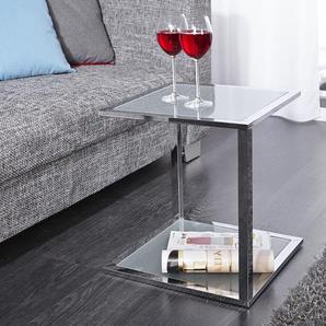 Funktionaler Beistelltisch CUBETTO 40cm Couchtisch frosted Glas chrom