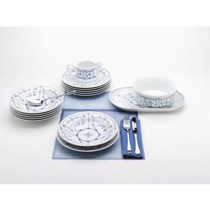 KAHLA Tafelservice 12-teilig BLAU SACS Weiß mit blauem Dekor