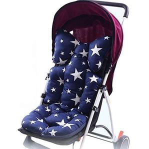 Godagoda Universal Kinderwagen Sitzauflage Wolke Stern Muster Baumwolle Wasserdichte Atmungsaktiv Sitzeinlage für Baby Kinderwagen Buggy 35x80cm (Blau)