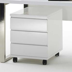 Büro Rollcontainer in Weiß 3 Schubladen