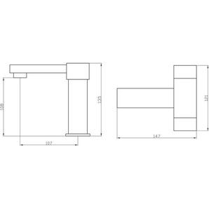 Design Style Bad Waschbecken Zweihebel Armatur Würfel Chrom Sanlingo