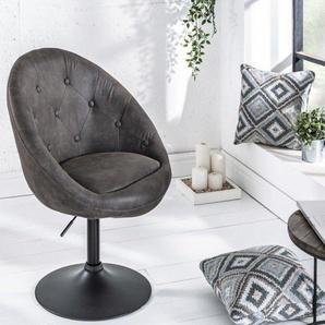 Design Drehsessel COUTURE antik grau höhenverstellbar im Loungedesign