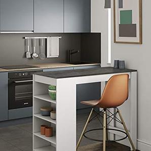 Symbiosis 8080A2198x 00Zeitgenössische Tisch Bar mit Stauraum, Weiß matt/Beton 115x 50x 102,7cm