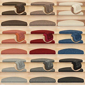 Kettelservice-Metzker® Stufenmatten Treppen-Teppich Astral | Halbrund 65x24cm Trittfläche, inkl. Fleckentferner, Blau 24 Stück