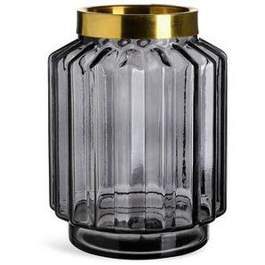 Vase grafisch, Glas, D:14cm x H:20cm, grau