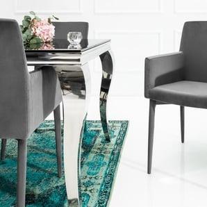 Eleganter Design Stuhl MILANO grau Samt mit Armlehne