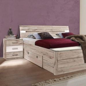 Stauraum-Bett, Liegefläche 180/200 cm, beige, 180/200 cm, inkl. Fußbank, 2 Schubkästen und 2 Nachttischen