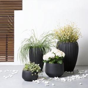 Blumenkübel schwarz rund 30 x 30 x 19 cm CORRIB