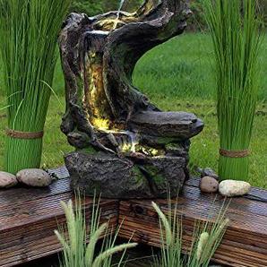 Arnusa Springbrunnen Woodrock Gartenbrunnen mit LED Beleuchtung Zierbrunnen Zimmerbrunnen