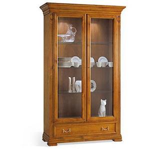 Sammler-Vitrine kirschbaumfarbig antik handgewischt ca. 122 x 200 x 43 cm
