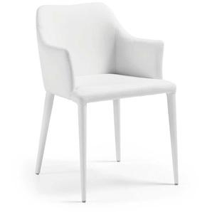 Armlehnstuhl in Weiß Kunstleder modern (2er Set)