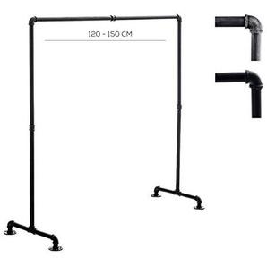 CLP Kleiderständer Jersey aus Metall im Angesagten Industrial Design | Höhe ca. 150 cm | Breite 120-150 cm 120 cm, Schwarz