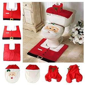 Leerroa Weihnachten Toilettensitzbezug,Weihnachts-WC-Dekoration,Toilettenvorleger Badezimmer Set für Weihnachtsdekoration-3 Stück
