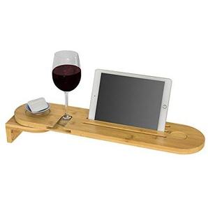 SoBuy FRG274-N Design Badewannenablage aus Bambus zur Wandmontage, Badewannenbrett mit Wein Glashalter und Seifenfach Badewannenauflage Halter für iPad Oder Handys, drehbar, BHT ca: 60x9x15cm