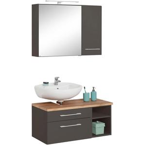 Badmöbel-Set mit Hängeschrank und Spiegelschrank , weiß, Siphonausschnitt links, »Davos«, Held Möbel