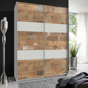 Schwebetürenschrank 2-trg. in weiß mit Absetzungen im Digitalprint, 2 Einlegeböden und 2 Kleiderstangen, Maße: B/H/T ca. 135/198/64 cm