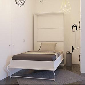 SMARTBett Bett verstecktem von 120cm vertikale, Schrank Bett, Das Bett Wandhalterung klappbar, weiß, 120 x 200 cm