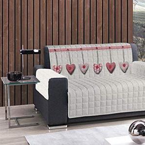 BIANCHERIAWEB Sofaüberwurf gesteppt Position Herz hängend Poltrona rot