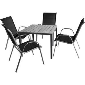 5tlg. Gartenmöbel Aluminium Gartentisch 90x90cm, graue Polywood-Tischplatte + 4x Gartenstuhl, Textilenbespannung, stapelbar, Grau/Schwarz, Gartengarnitur - MULTISTORE 2002