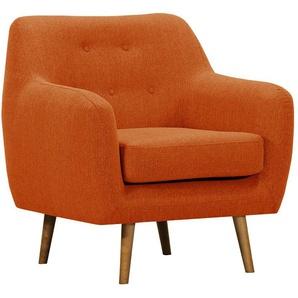 Design-Sessel Stoff Orange Beine aus hellem Holz OLAF
