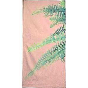 Handtuch »Ferns on Blush Prints«, Juniqe, Weiche Frottee-Veloursqualität