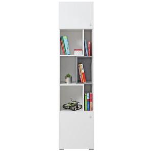 Jugendzimmer - Regal Lede 06, Farbe: Grau / Weiß - Abmessungen: 190 x 45 x 40 cm (H x B x T)