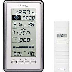 Technoline WS 9040-IT Klassische Wetterstation mit Temperaturanzeige, Vorhersage von Wettersituation, Anzeige von Wettertendenz (Silber mit Batterien)