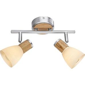 GLOBO Retrofit Wandlampe /Deckenlampe 2 Spots GYLFI Nickel mit hellem Holz