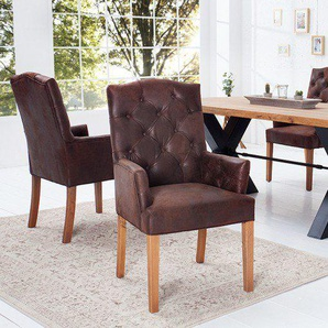 Eleganter Chesterfield Stuhl CASTLE braun mit Armlehnen im Landhausstil