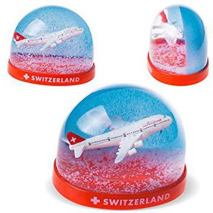 topspirit Schneekugel mit 3D Flugzeug Switzerland mit weissem Schnee 9 cm