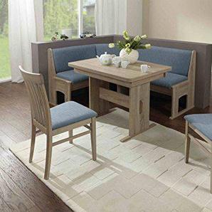 Beauty.Scouts Eckbankgruppe Canadian Star Sonoma Eiche Dekor Hellblau Set 4teilig Truheneckbank Tisch ausziehbar Stühle Esche massiv Küche Esszimmer