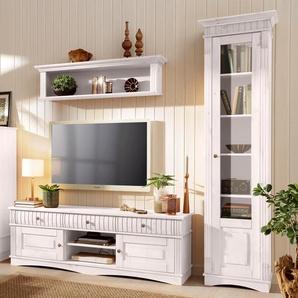 Home Affaire Wohnwand », bestehend aus 1 Vitrine klein, 1 Vitrine groß, 1 Lowboard«, weiß, pflegeleichte Oberfläche, FSC®-zertifiziert