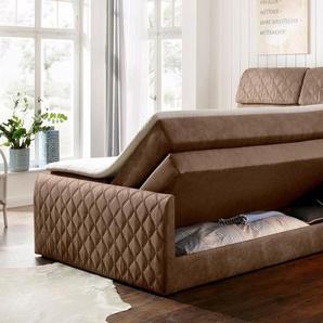 Home affaire Boxspringbett »Chester«, mit Stauraumbettkasten und Topper, in 3 Breiten, bis zu Härtegrad 4, braun, 195 cm x 235 cm x 63 cm