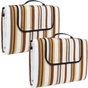 2 Picknickdecken 200x150cm - Stranddecke, Campingdecke - beige - TECTAKE