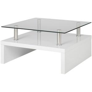 Couchtisch weiß Metall Glas  Spargi ¦ weiß ¦ Maße (cm): B: 70 H: 40 Tische  Couchtische  Couchtische rechteckig » Höffner