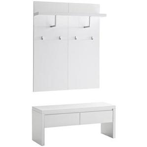 Kommode weiß lackiert mit Sitzbank 2 Schubladen und Regal mit Garderobe WELCOME