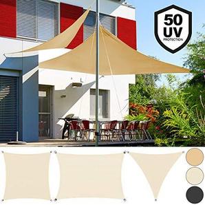 DETEX Sonnensegel Sonnenschutz Windschutz | Oxford Gewebe | wasserabweisend & windabweisend | UV50-Schutz | Dreieck 5x5x5m | 7-fach quer vernäht | robust & stabil | anthrazit | Modellauswahl